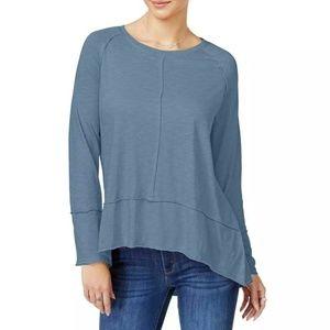 Style & Co Blue Hi-Low Burnout Long Sleeve Tshirt